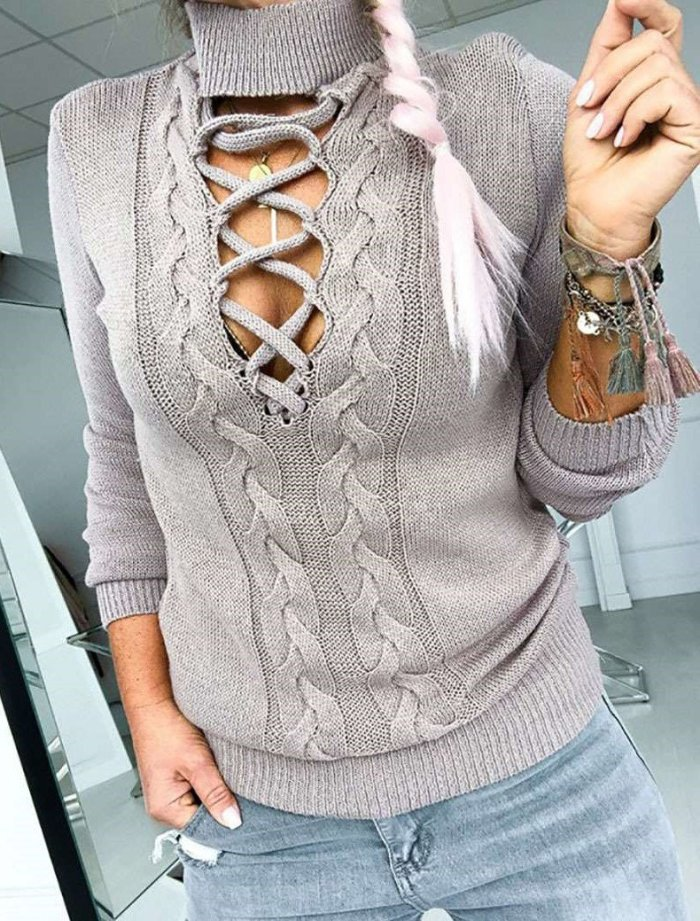 Casual Sexy Knit Hollow out Pure High collar Sweaters