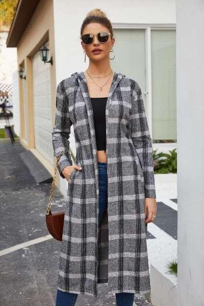Fashion Plaid Hoodies Long sleeve Belt Coats