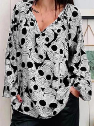 Women's skull printed large v-neck top Blouses