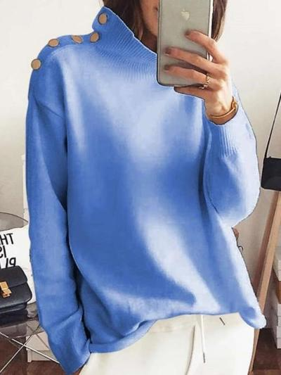 Fashion Pure High collar Long sleeve  Fastener Sweaters