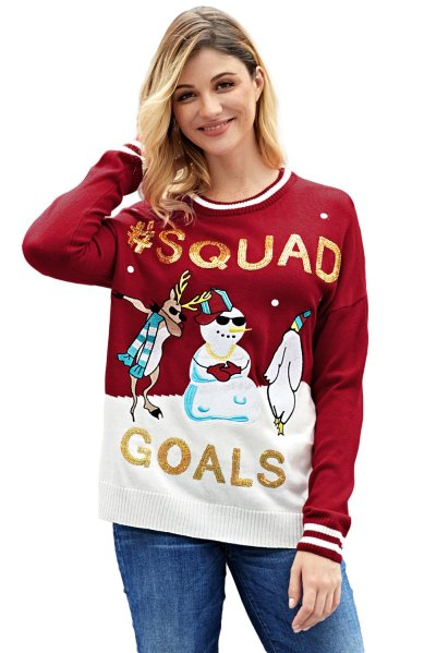 Christmas Gored Paillette Long sleeve Sweaters