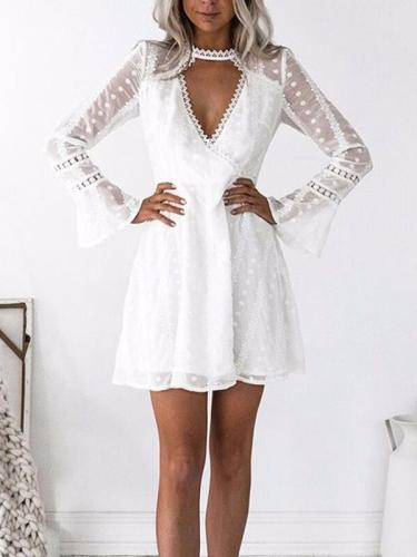 Elegant deep V neck lace point flared sleeve skater dresses