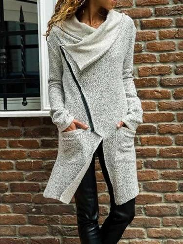 Fashion Lapel Zipper Long sleeve Coats