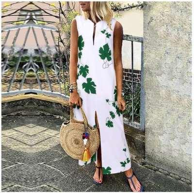 Fashion Casual Print V neck Vent Sleeveless Maxi Dresses