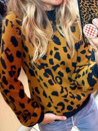 Fashion Print Round neck Long sleeve Sweaters