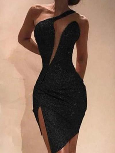 Sexy off shoulder irregular buttock slit evening dresses