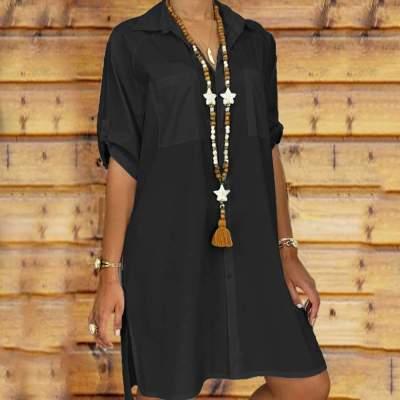Fashion Pure Short sleeve Lapel Blouses