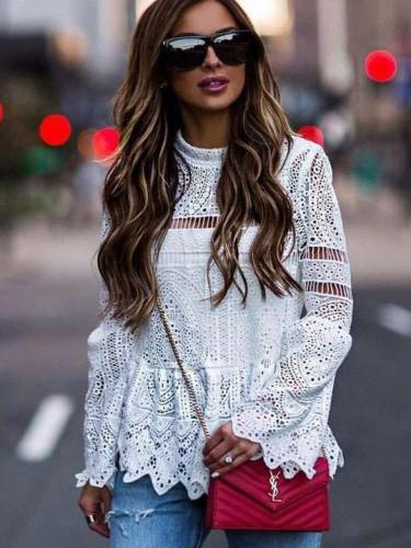 Fashion Lace Hollow out  Mandarin sleeve Blouses