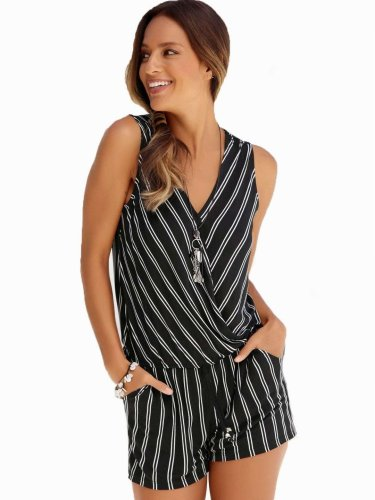 Casual Print V neck Jumpsuits