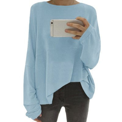 Loose Round Neck Long Sleeve Plain Woman T-Shirts
