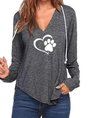 Fashion V neck Print Hoodies
