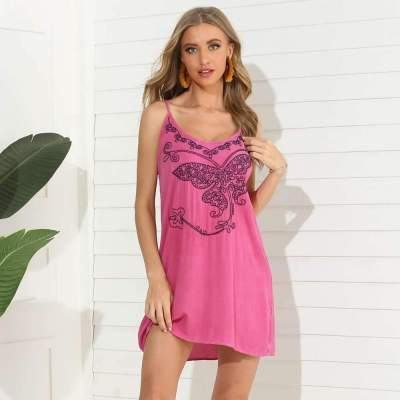 Casual V neck Vest Embroidery Shift Dresses