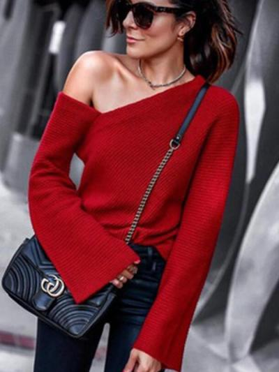Sexy One shoulder Long sleeve Knit Sweaters