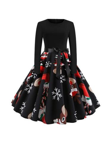 Christmas Long Sleeve Round Neck Bowknot Skater Dresses