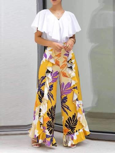 Women Printed Falbala Fashion Loose Pants