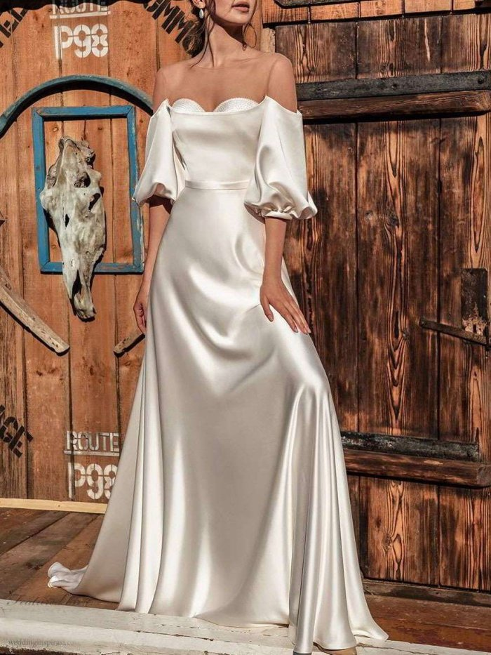 Fashion Sexy Pure One shoulder Half sleeve Evening Dresses