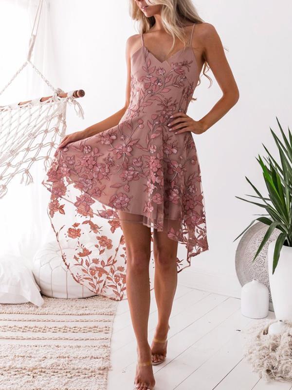 Sexy Strap Irregular Hem lace embroidered Skater dresses