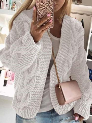 Fashion Pure Hoodie Long sleeve Knit Cardigan