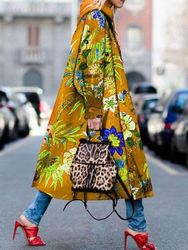 Fashion Print Lapel Long sleeve Trench Coats