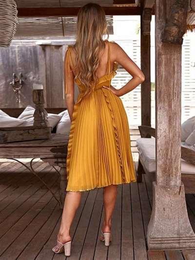 Fashion Pure Falbala V neck Sleeveless Backless Vest Skater Dresses
