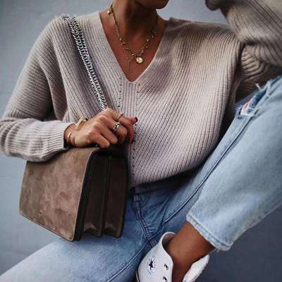 Fashion Casual Pure V neck Long sleeve Knit Sweaters