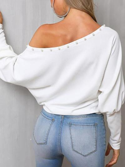 Plain loose  one-collar off-the-shoulder bat sleeve top