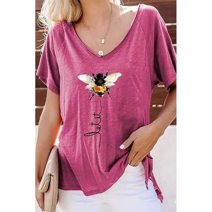 Casual V neck Print Short sleeve T-Shirts