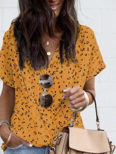 Fashion Casual Print V neck Short sleeve Blouses