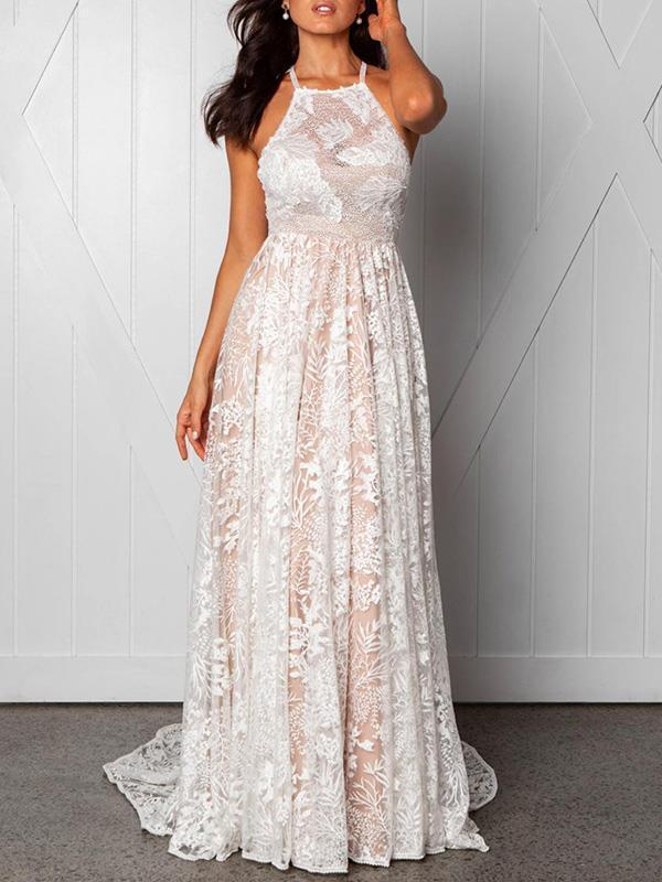 Lace halter sleeveless backless long customized evening dresses