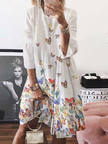 Loose Print Round neck Three quarter sleeve Maxi Dresses