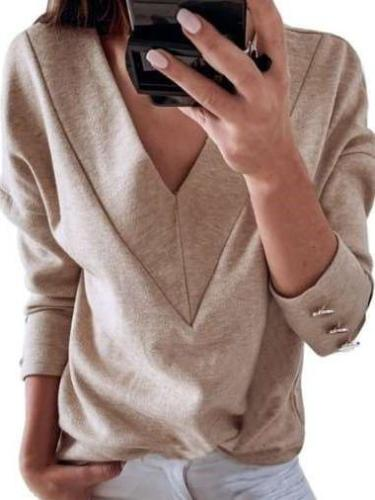 Pure Long sleeve V neck T-Shirts