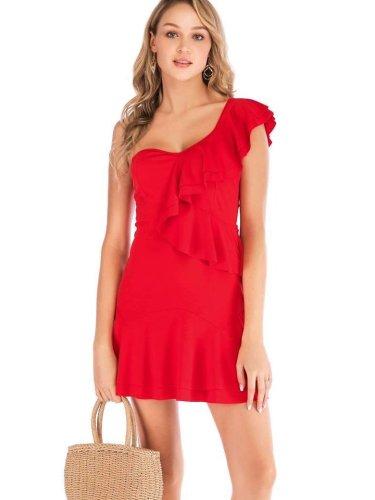 Pure Falbala  Single shoulder Shift Dresses