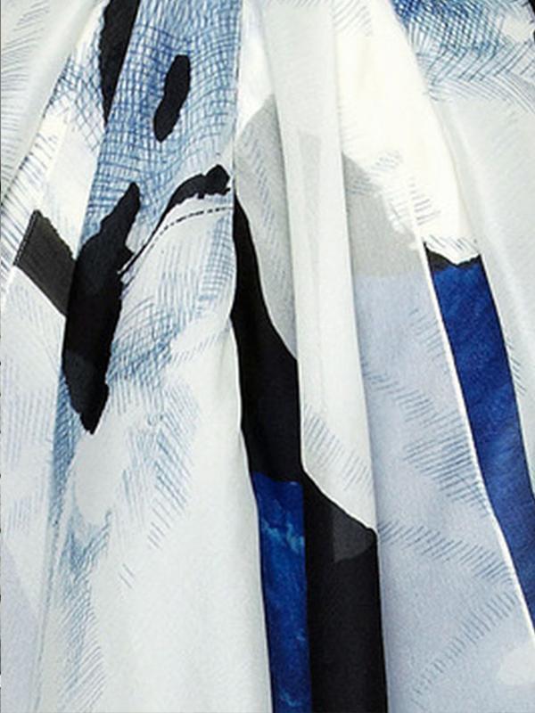 Elegant V-Neck Belt Floral Printed Long Sleeve Maxi Dresses