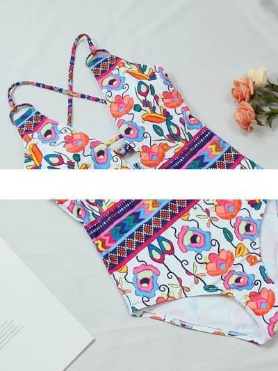 Printed strap tie design swimsuit bikini