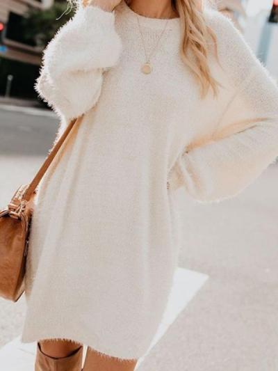 Plain long sleeve high collar loose shift dresses