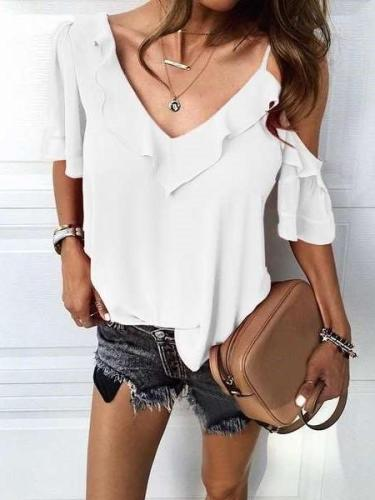 Fashion Pure V neck Short sleeve Off shoulder Falbala T-Shirts