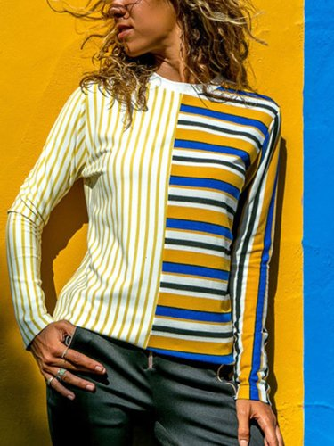 Interest Stripe Long Sleeve Woman T-shirts
