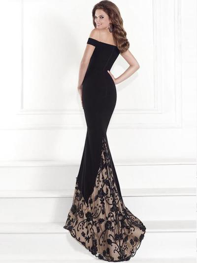 Sexy black Off shoulder frock gilt floor-length gown eveing dresses