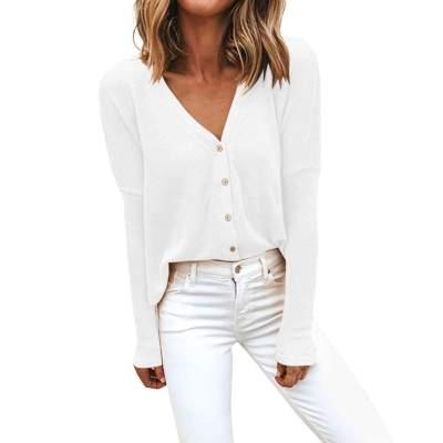 Fashion Loose Pure Fastener Long sleeve Cardigan