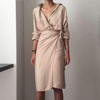 Fashion Pure Irregular Lacing Long sleeve V neck Bodycon Dresses