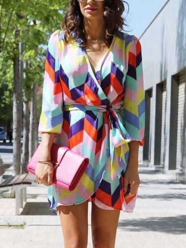 Casual Loose Print V neck Lacing Long sleeve Shift Dresses
