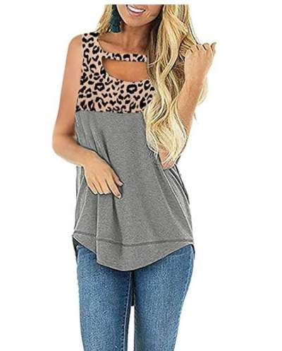 Casual Leopard print Gored Sleeveless T-Shirts