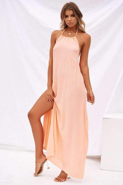 Casual Pure Halter Sleeveless Backless Maxi Dresses