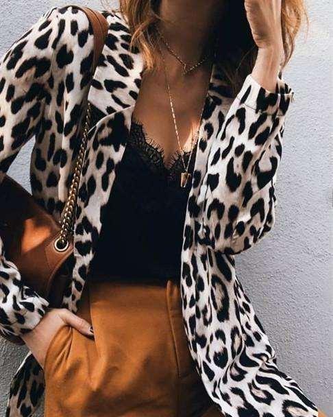Fashion Loose Leopard print Long sleeve Lapel Blazer