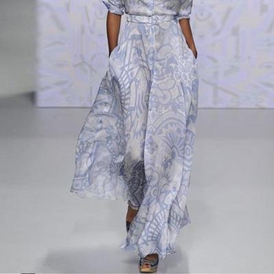 Fashion Lapel Print Long sleeve Skater Dresses