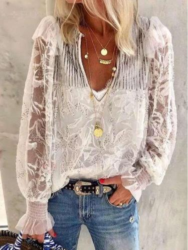 Grenadine Embroidery Lacing Long sleeve Blouses