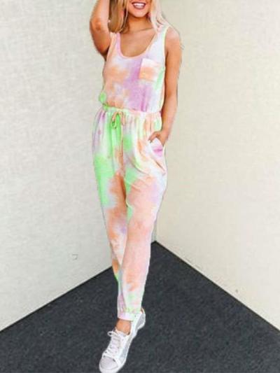 Fashion Round neck Sleeveless Lacing Jumpsuits