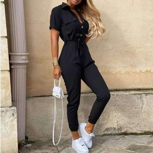 Fashion Casual Lapel Short sleeve Jumpsuits
