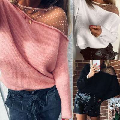 Fashion Sexy Lace Gored Long sleeve Round neck Sweaters