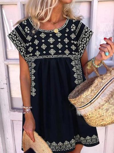 Fashion Short sleeve Round Neck Printed Shift Dresses